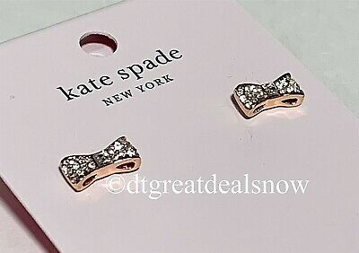 $ CDN31.20 • Buy NWT Kate Spade Ready Set Bow Pave Bow Studs Clear/Rose Gold