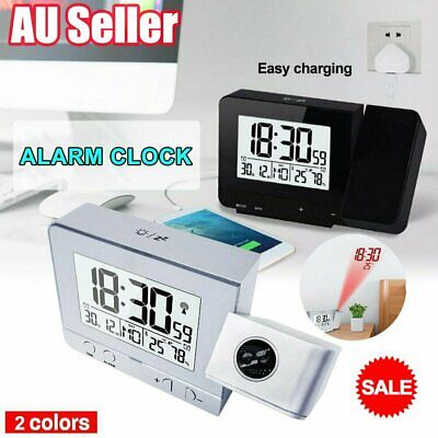 AU27.60 • Buy Digital LED Projection Alarm Clock Time Temperature Projector LCD Display HI