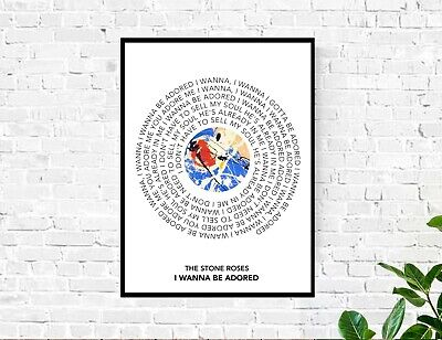 The Stone Roses I Wanna Be Adored Lyrics Record Spiral A3 A4 Print Poster Gift • 14.99£