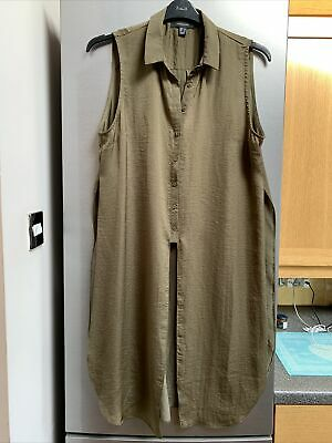 Ladies Long Green Sleeveless Top From Primark Atmosphere Size 18 Button Front • 2.99£