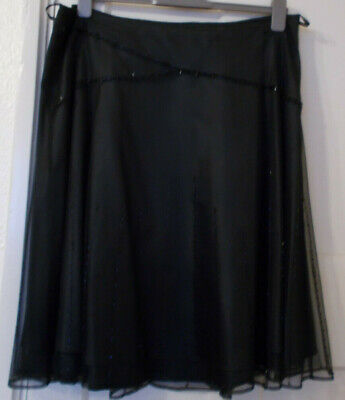 Black Marks And Spencer Beaded Net Skirt With Lining Size 20 • 3.50£