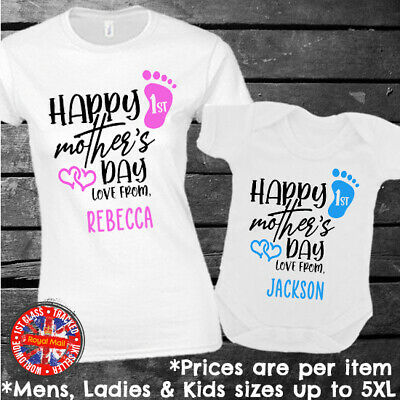Happy First Mother's Day Personalised Matching T-shirt Set Gift • 9.99£