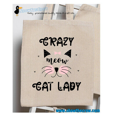 £1.99 • Buy  Crazy Cat Lady  100% Premium Cotton Tote Gift Shoppers Bag
