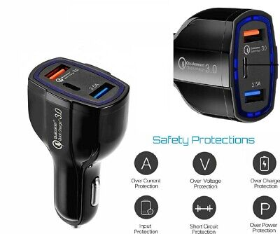 Cigar Lighter Car Phone Charger 2 Usb + Usb Type-c Ports • 5.16£