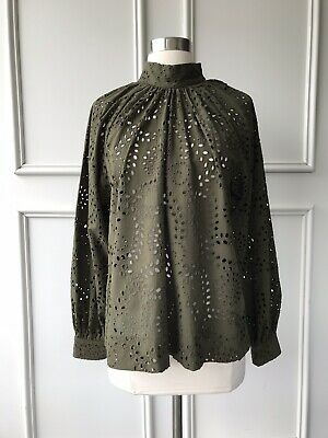 AU55 • Buy | COUNTRY ROAD | Tonal Broderie Top Deep Khaki | NEW | $159 | SIZE: 4,6,8 |