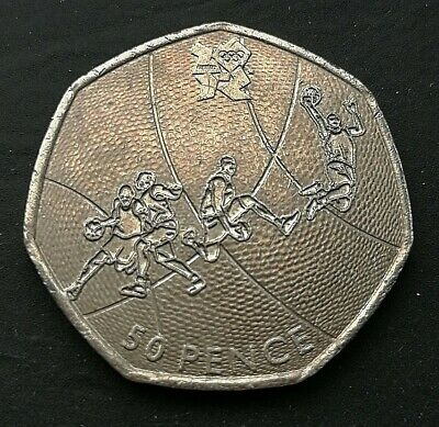 RARE 50p Coin London 2012 Olympic BASKETBALL Fifty Pence Coin 2011  • 0.50£