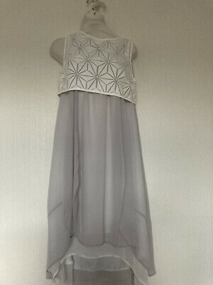 Mint Velvet Size 8 High Low Cocoon Dress Geo Pattern Spring Summer RRP£119 Grey • 69£