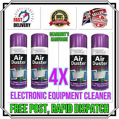 4 X Air Duster Spray Gas Cleaner Compressed Dust Blower Keyboard PC Laptop NEW • 14.99£
