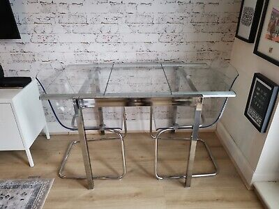 Ikea Extendable Glass GLIVARP Table And 2x TOBIAS Chairs • 50£