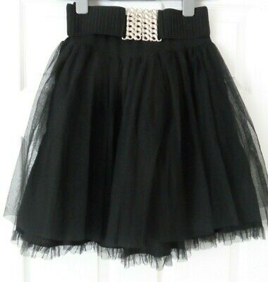 RIVER ISLAND Black Lace/Net Belted Short Party Skirt - Size 6 - Excellent Cond. • 7.50£