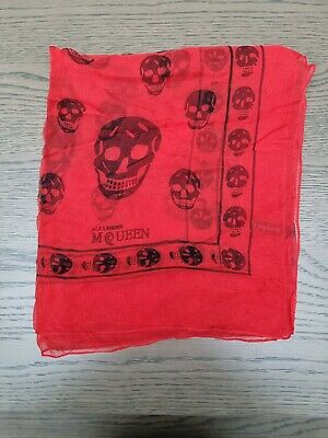 AU27.07 • Buy Alexander Mcqueen Scarf Skull Red And Black