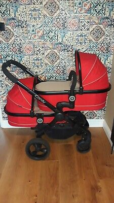 ICandy Peach (3) Blossom Sherbet Red Double Tandem Pushchair/Pram • 450£
