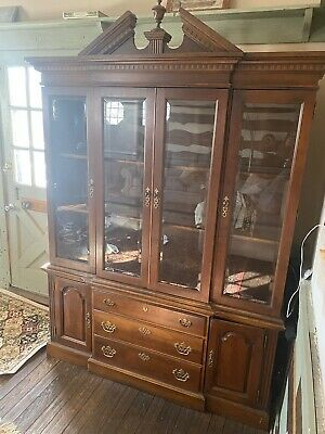 $399 • Buy Solid Mahogany Wood Display China Cabinet W/4 Glass Doors Antique Top & Bottom