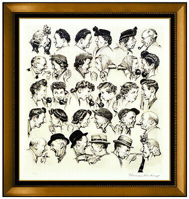 $ CDN4434.11 • Buy Norman Rockwell Gossips Lithograph Hand Signed Portrait Illustration Framed Art