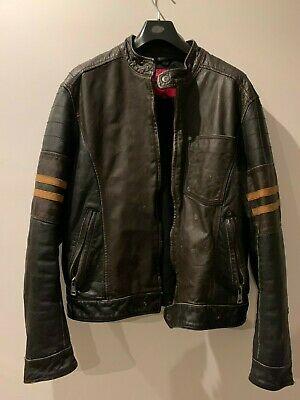 Mens Aged Look Leather Biker Jacket, Wolverine Style, XL • 41£