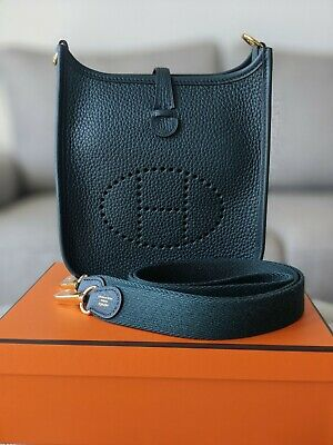 AU3495 • Buy 🍊 Hermes Mini Evelyne Tpm Vert Cypress Clemence Leather With Ghw 🍊
