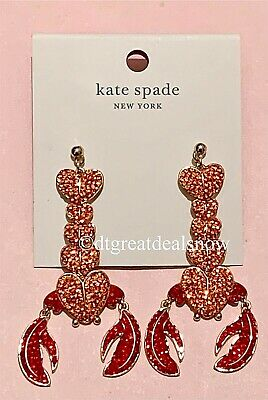 $ CDN66.49 • Buy NEW Kate Spade Love Shack Lobster Statement Red Heart Sparkle Dangle Earrings