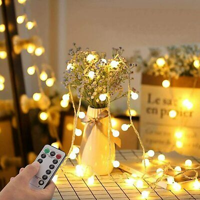 Globe String Fairy Lights Warm White 100 LED 33ft 8 Modes Remote Indoor Outdoor • 7£