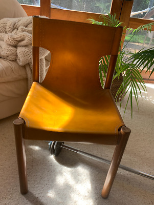 AU360 • Buy Pair Leather Sling Chairs. 70's Pair Unique Designer Leather Chairs