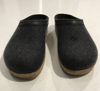 Haflinger Women's Grizzly Charcoal Gray Wool Clog Slippers Sz 38 US 7 • 39.80£