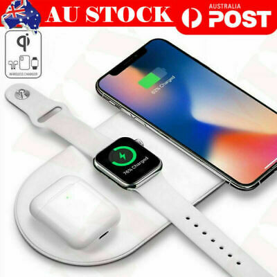 AU19.99 • Buy 3in1 Qi Wireless Charger Charging Dock Stand For Apple IPhone Watch Earphones