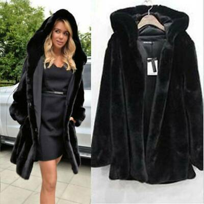 Women Faux Fur Parka Winter Hooded Outwear Overcoat Jacket Warm Long Coat • 14.99£
