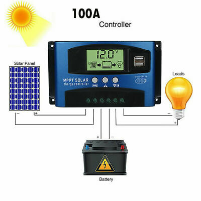 100A MPPT Solar Panel Regulator Charge Controller 12V/24V Auto Focus Tracking • 22.48£