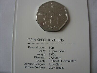 Rare !!!! 50  Pence 2019  Battle Of Britain   50 Years Of The 50 P • 11.99£