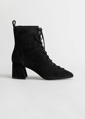 Brand New & Other Stories Black Suede Lace Up Ankle Boots EU 40 • 45£
