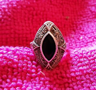 Vintage Sterling Silver Marcasite Art Deco Style Ladies Ring - Size - M • 8£
