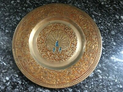 Vintage Indian Brass Dish With Hanger Etched And Painted With Peacock Motif • 6£