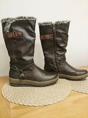 Relife By Pavers Size 5 (eur 38) Brown Fur & Fleece Lined Calf Length Boots • 10.50£