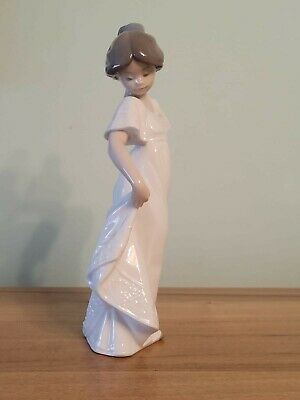 NAO Figurine 1110  How Pretty  Young Girl In White Embossed Dress • 19.99£