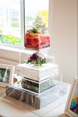 Set Of 2 Square Box Perspex Acrylic WEDDING CAKE SEPARATOR STANDS + Cake Board • 125£