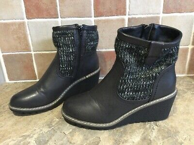 Pavers Black Ankle Boots Knitted Fabric Size 5 Euro 38 Excellent Condition • 14.99£