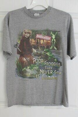 $ CDN18.90 • Buy Vintage Budweiser Beer Poor Frog They Never Saw It Coming Gray Shirt 1998
