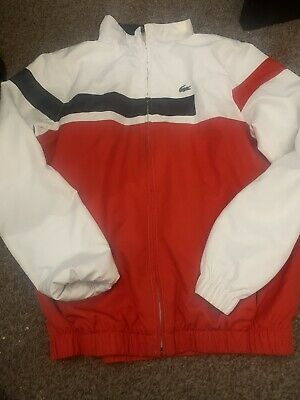 Lacoste Boys Red Tracksuit Zipped Jacket Top Age 14 Years • 9£