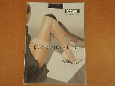 Wolford Day & Night 10 Stay Up Black Admiral Large Brand New • 15£