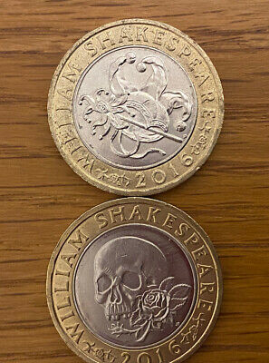 2 X William Shakespeare 2016 £2 Pound Coins - COMEDIES & TRAGEDIES - Circulated • 6.95£