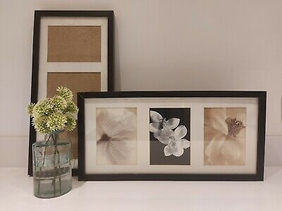 2 IKEA RIBBA Black Wooden Photo Frames For 3 Pictures 13x18 Cm/1 Picture 50x23cm • 7.50£