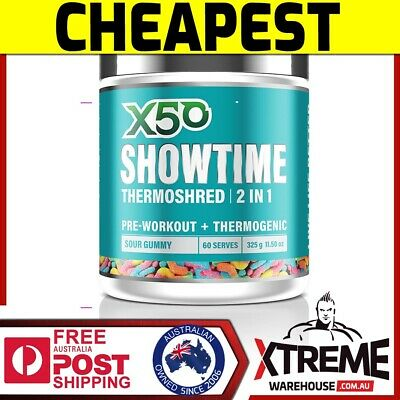 AU59.50 • Buy X50 Showtime 2in1 60srv //thermoshred Pre Workout Fat Burner Green Tea Oxy Shred