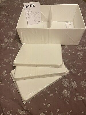 Four Brand New Ikea STUK Drawer Organisers - Two Compartments, White 34x51x18cm • 4.70£
