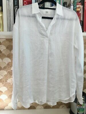 AU20 • Buy BNWOT Gorgeous UNIQLO 100% Linen White Collared Long Sleeve Top M