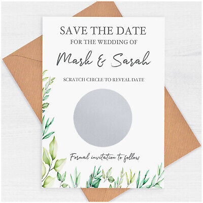 £59.70 • Buy Eucalyptus Save The Date Cards PERSONALISED Unique Save The Date Scratch Cards