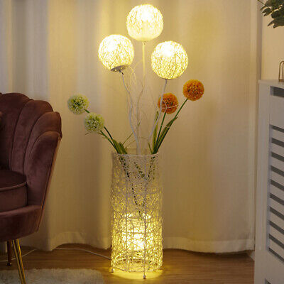 Pastoral Led Floor Lamp Decorative Flower Rattan Standing Night Llight For Room • 73.95£