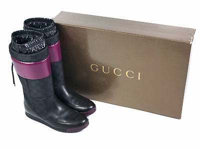 GUCCI Women's Black Leather Quilted Boots | Size EUR37/US 7 (24.5 Cm/9.6 In) • 162.73£