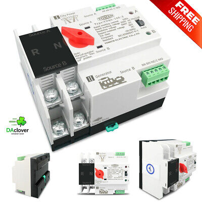 £28.60 • Buy Single Phase Din Rail For 2P 63/100/125AATS Dual Power Automatic Transfer Switch