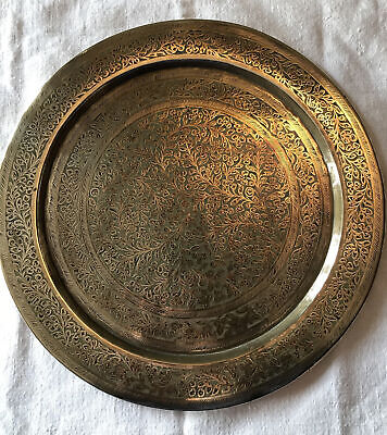 "Vintage Indian Engraved Brass Tray Charger Wall Plate. 11"" Diameter. VGC.Stamped • 10.50£"