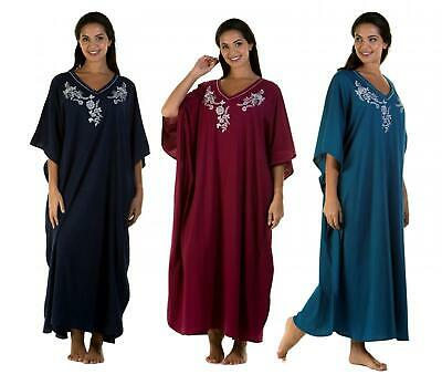 Kaftan Ladies Women's Embroidered Soft Jersey Cotton By La Marquise One Size • 16.99£