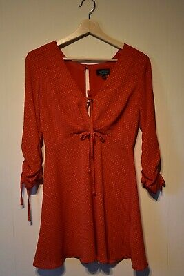 Topshop - Red Polka Dot Mini Dress - New With Tags - Size 6 Petite - Fit & Flare • 4.50£